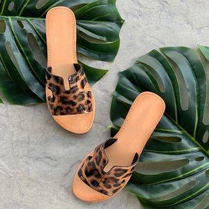 Leopard print H cutout slide on sandals tan